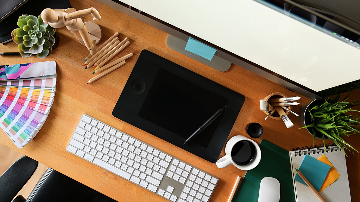 Graphic design studio workspace